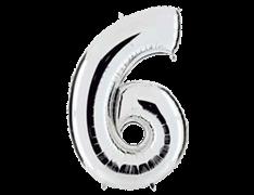 "Воздушный шар Цифра ""6"" Silver"