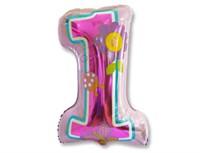 Воздушный шар ЦИФРА 1 Девочка Первый день рождения