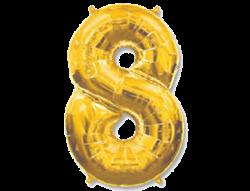"Воздушный шар Цифра ""8"" Gold - фото 7868"