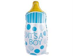 Шар К ФИГУРА Бутылка в горошек голубой - фото 8091