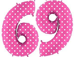 """Воздушный шар ЦИФРА 6/9 40"""" Горошек на розовом - фото 8423"""