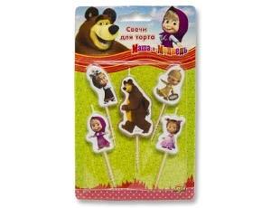 Свечи для торта на пиках Маша и Медведь 5 шт. - фото 8626