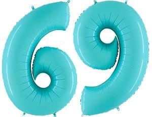 """Воздушный шар ЦИФРА """"6/9"""" Пастель Blue - фото 8656"""