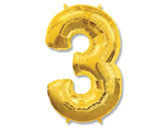 "Воздушный шар Цифра ""3"" Gold"
