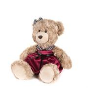 Мишка Моника в Красном Платье с Клетчатым Воротничком, 20 см