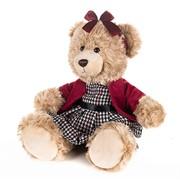 Мишка Моника в Красном Жакете и Клетчатом Платье, 25 см